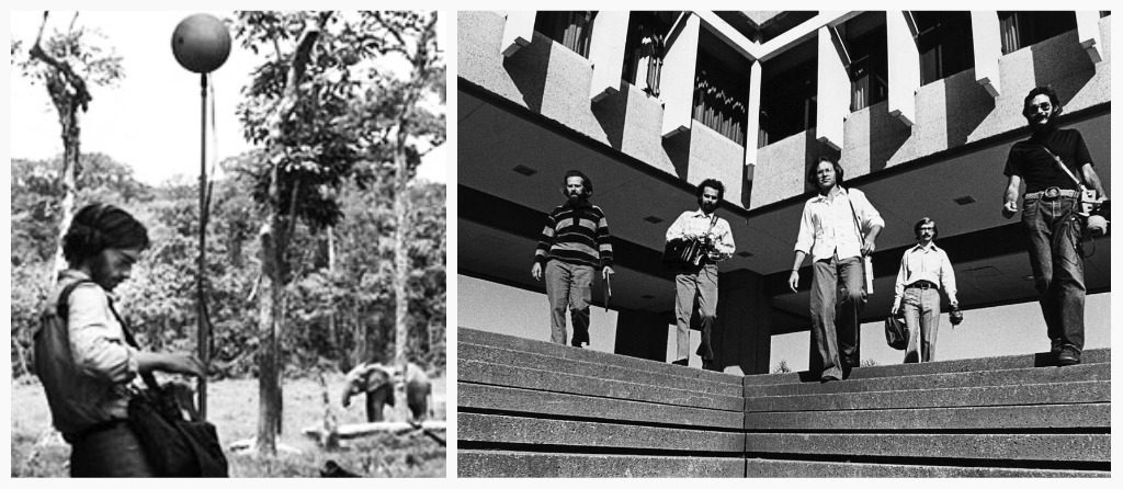 Left side, a man stands recording near an elephant, right hand side, four white men stand on the steps of Simon Fraser Univeristy.