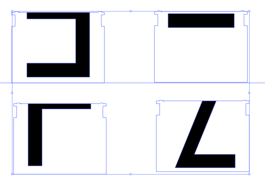 Overvew of four black-and-white letters with blue split-flap outline laid out in a grid. The top of an E, bottom of an F, top of a Z, and a dash.