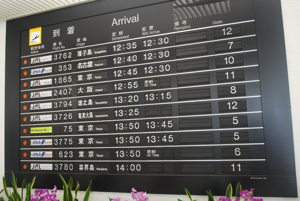 Black and white split flap board showing fixed and alphanumeric flaps from Kagoshi, Japan, small pink flowers in front of it, and airport arrival information on the boards.